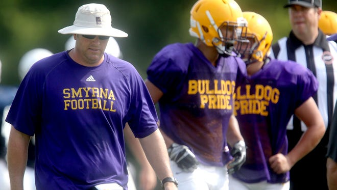 Smyrna coach Matt Williams works with players during a recent scrimmage.