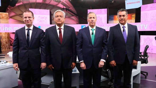 From left, Ricardo Anaya of the National Action Party, or PAN; Andres Manuel Lopez Obrador, or AMLO,of the leftist National Regeneration Movement, known by a Spanish acronym of its syllables, Morena; Jose Antonio Meade of the ruling Institutional Revolutionary Party, or PRI; and Independent candidate Jaime Rodriguez Calderon.