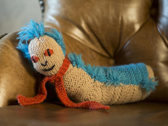 """Toni """"Joan of Dark"""" Carr's new book """"Geek Knits"""" includes the instructions for this """"Helpful Worm"""" made of Peruvian highland wool."""