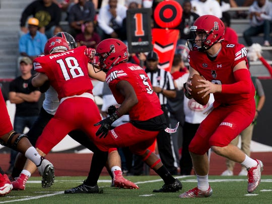 Austin Peay quarterback Jeremiah Oatsvall (6) was named the 2018 OVC Preseason Offensive Player of the Year.