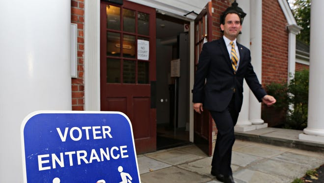 Putnam County District Attorney Adam Levy leaves Southeast Town Hall on Thursday after casting his vote in the Republican primary. Putnam Valley  town Supervisor Robert Tendy defeated Levy.