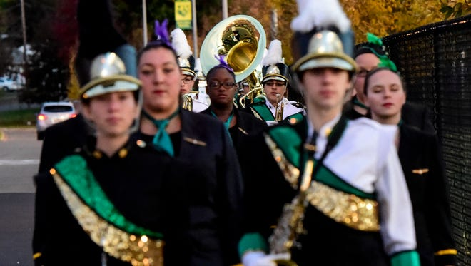The Vestal Marching Band took center stage during the Golden Circle of Bands competition on Saturday.