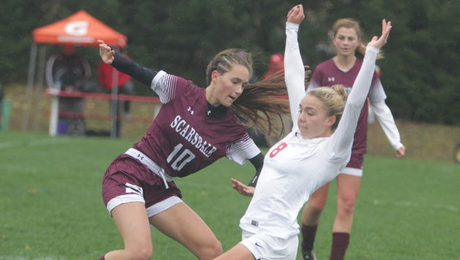 Action during a Section 1 girls soccer Class AA first round game between North Rockland and Scarsdale at North Rockland High School on Saturday, Oct. 22nd, 2016. North Rockland won 1-0.
