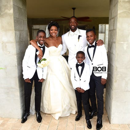 Gabrielle Union shared this photo from her wedding to Dwayne Wayne. #TheWadeUnion