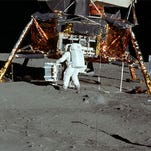 Neil Armstrong takes pictures of Buzz Aldrin during Apollo 11, the first manned moon landing.