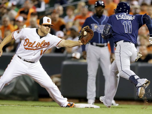 Shown playing first base last April, Orioles slugger Chris Davis is hoping to move on after a drug suspension ended his 2014 season and kept him out of the playoffs.