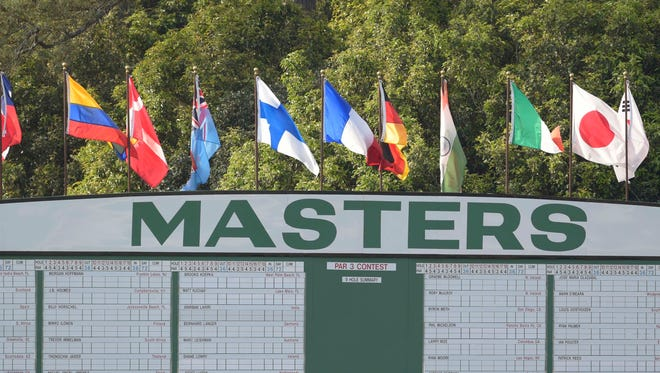 Apr 6, 2015; Augusta, GA, USA;  Late day light and the leaderboard during a practice round for The Masters golf tournament at Augusta National Golf Club. Mandatory Credit: Michael Madrid-USA TODAY Sports