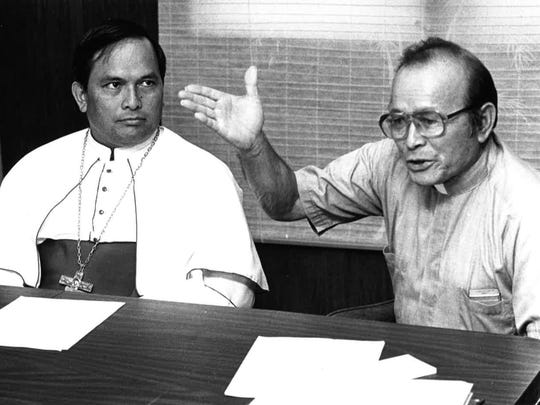 In this June 21, 1987 file photo, Father Juan Camacho,