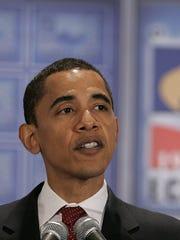 U.S. Senator Barack Obama D-Ill  and 2008 Presidential Candidate 2008 Presidential Candidate hopeful addresses the Detroit Economic Club meeting in Detroit in 2007.