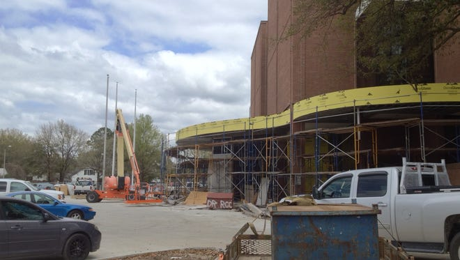 The main Lafayette Parish public library in downtown Lafayette, Louisiana, is shown during renovations.