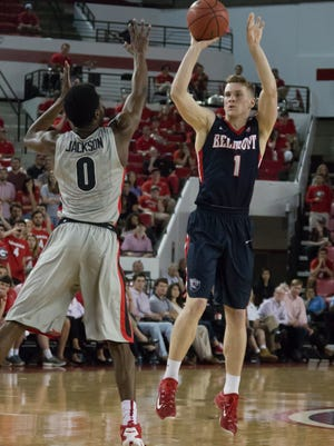 Belmont's Austin Like shoots against Georgia's William Jackson in an NIT first-round game on March 16, 2016.