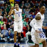 Kentucky's Skal Labissiere in the locker room after the Cats lose to Indiana in the 2nd round of the NCAA Tournament. Mar. 19, 2016