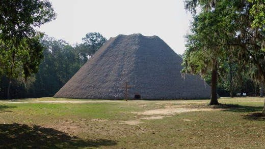 The reconstructed Apalachee Council House is part of the Mission San Luis Living History Museum in Tallahassee.