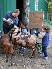 With Mom Emily Brown's supervision, twins Lucius (left) and Oliver Frazier help feed the goats.