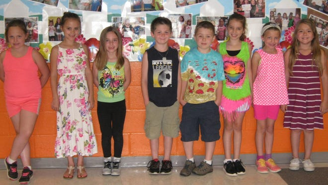 Second-graders named Students of the Month for May at Janvier School in Franklin are: (from left) Kayleigh Smith, Peyton Pratt, Kylee Lindsey, Christian Marsden, Jacob Weist, Isabella Sheridan, Maryanne Kelton and Cienna Lupoli.