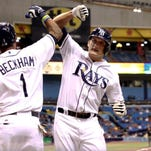 Tampa Bay fielder Mikie Mahtook (27) is congratulated by Tampa Bay Rays shortstop Tim Beckham (1) as he hits a solo home run against the Florida Marlins.