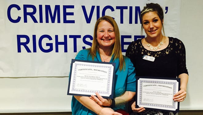 LACASA members Nicole Matthews-Creech, left, and Kayla Dillon were among the members of the Livingston County Response to Sexual Assault Protocol Committee recognized at a recent luncheon honoring crime victims' advocates.