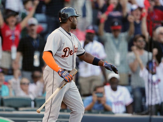Detroit Tigers' Justin Upton reacts as he strikes out to end a baseball game, the final one at Turner Field, against the Atlanta Braves, Sunday, Oct. 2, 2016, in Atlanta. (Curtis Compton/Atlanta Journal-Constitution via AP)