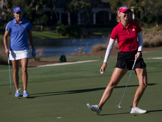 LPGA Tour pro Jessica Korda during the final round of the CME Group Tour Championship at Tiburón Golf Club on Sunday in Naples. Korda finished the tournament tied for second place with a score of 14 under.