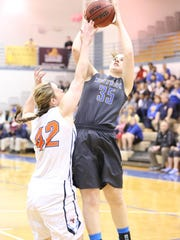 Westview's Lydia Pritchett goes up for a basket defended by South Gibson's Hope Neymanon Wednesday night at Chester County in the Region 7-AA girls basketball final.