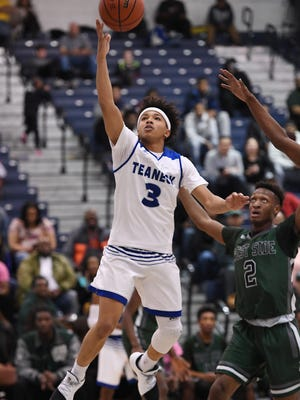 Teaneck's Leondre Washington drives to the basket. durng the quarterfinals  of the 29th boys basketball Tournament of Champions at Pine Belt Arena on the campus of Toms River North High School on Friday, March 17, 2017. Teaneck defeated West Side in overtime, 70-62.