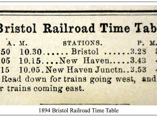 Bristol Railroad timetable from 1894.