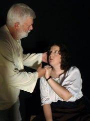 """Bruce Revennaugh and Christy Rahrig as Don Quixote and Dulcinea in the Zane Trace Players production of """"The Man of La Mancha."""""""