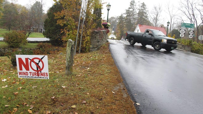 A yard sign opposing an industrial wind project sits at the side of the road in Grafton. On Election Day, voters in Grafton and Windham rejected a plan for 24 turbines in the two communities.