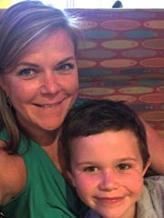 Jennae Moran with her 6-year-old son, Jameson Brady, who was named after LeBron James and Tom Brady.