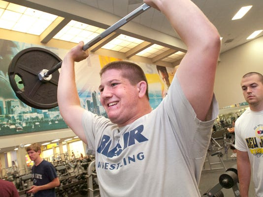 Dover native Brooks Black works out with his brother Brody at LA Fitness in 2011. Brooks Black wrestles for New Jersey boarding school Blair Academy, and his team will return to York for the NHSCA Final Four Festival on Saturday at York Expo Center. Black is coming off winning the 285-pound championship at the prestigious Powerade wrestling tournament outside Pittsburgh. (Daily Record/Sunday News -- File)