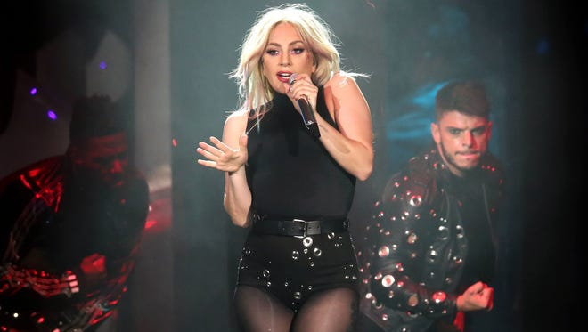 Lady Gaga, performing at this year's Coachella festival, hit the stage in Indianapolis on Sunday.