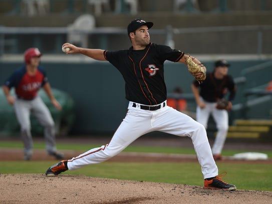 Shorebirds' pitcher Lucas Humpal throws a pitch at Perdue Stadium.