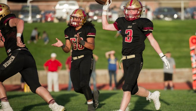 Cedar's Kolbe Meek (3) was the star of the show Friday against Canyon View with four touchdowns and over 200 total yards
