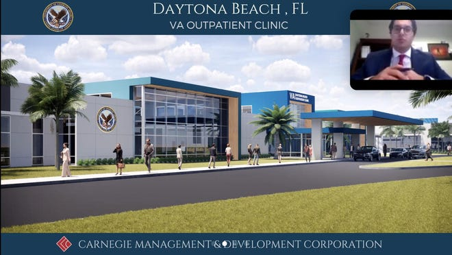 This is a screen shot from the Zoom meeting held Tuesday evening, Aug. 11, 2020, where developer Rustom Khouri III of Ohio-based Carnegie Management & Development Corp., presented his company's potential plans to develop a new 131,000-square-foot Veterans Administration outpatient center on North Williamson Boulevard, just north of LPGA Boulevard, in Daytona Beach. The center would replace two nearby smaller VA facilities. This is a rendering of what the new center would look like. The federal government is expected to decide within the next two months whether to award the contract to Carnegie.