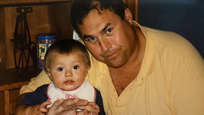 A family photo of current BC High senior Ozzy Trapilo with his father Steve, who died when Ozzy was just 2.