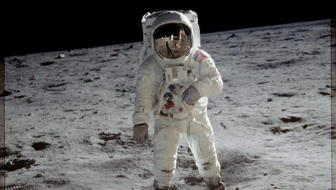 Astronaut Buzz Aldrin walks on the surface of the moon near the leg of the lunar module Eagle during the Apollo 11 mission. Mission commander Neil Armstrong took this photograph with a 70 mm lunar surface camera.