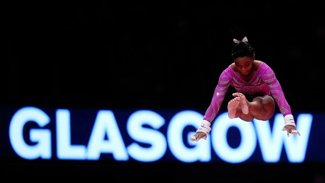 Simone Biles of United States competes on the Uneven Bars during day Two of the 2015 World Artistic Gymnastics Championships at The SSE Hydro on October 24, 2015 in Glasgow, Scotland.