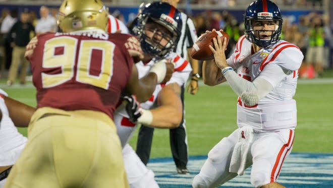 Quarterback Chad Kelly turned the ball over four times in Ole Miss' loss to Florida State.