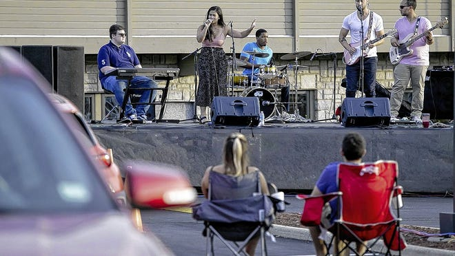 Honey and Blue performs to a socially distant drive-in audience Aug. 13 in the Music in the Parks summer concert series presented by the Upper Arlington Cultural Arts Division outside of National Church Residences, 2335 North Bank Drive. A drive-in concert is expected to kick off Labor Day weekend Sept. 4.