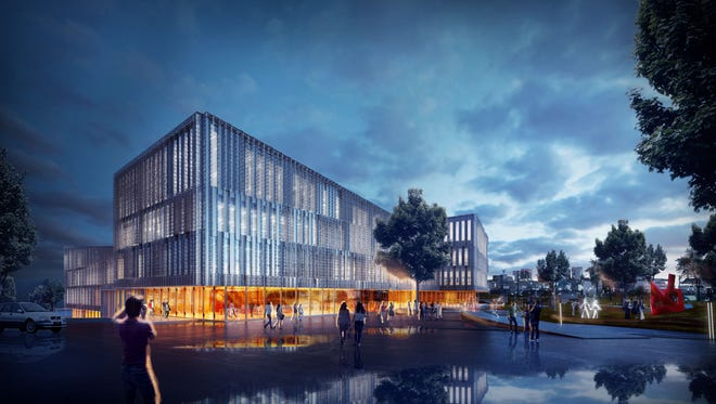 A rendering of the planned $120 million Carl H. Lindner College of Business at the University of Cincinnati's main campus.