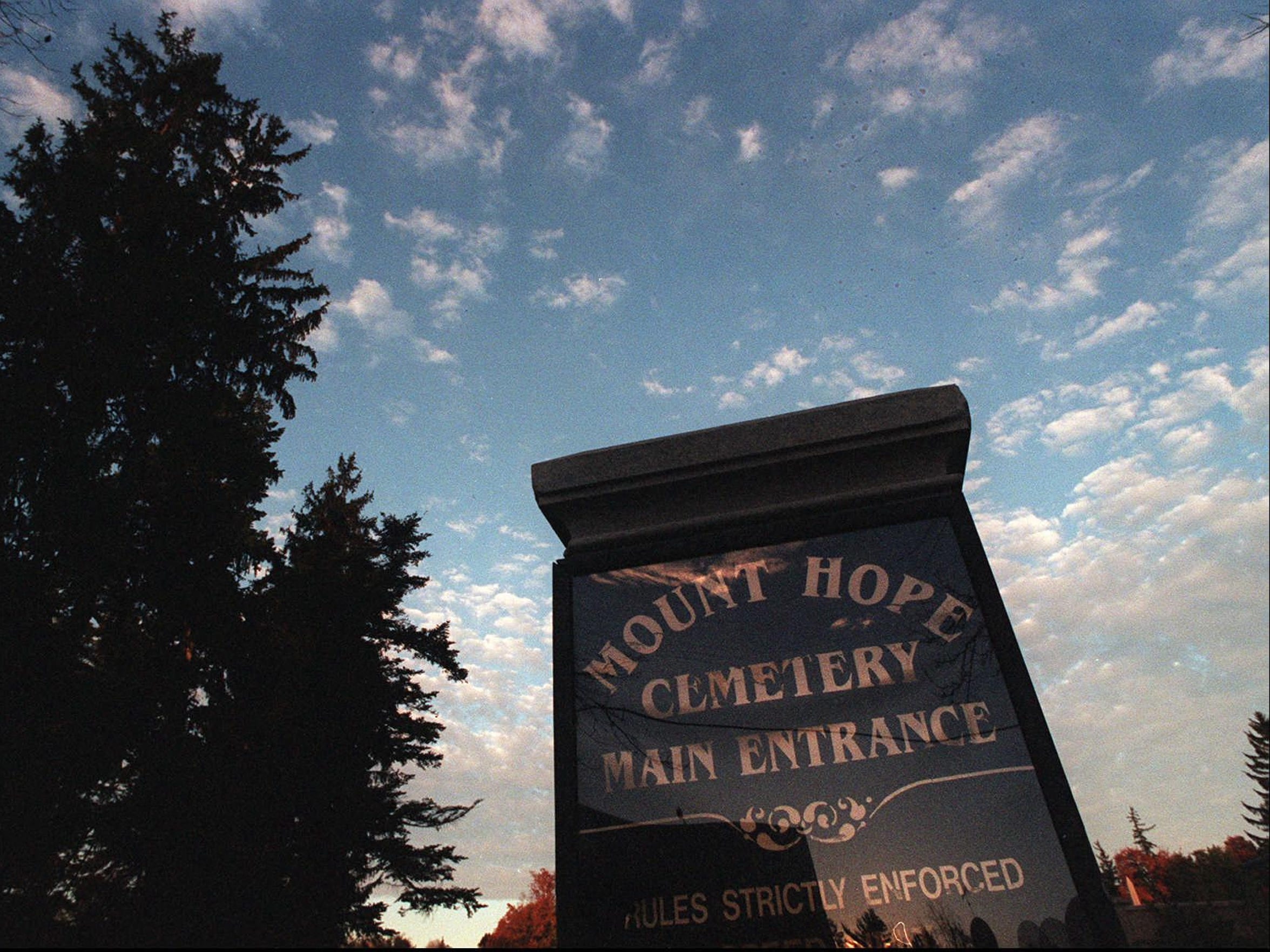 The entrance to Mt. Hope Cemetery on Mt. Hope Avenue in Rochester.
