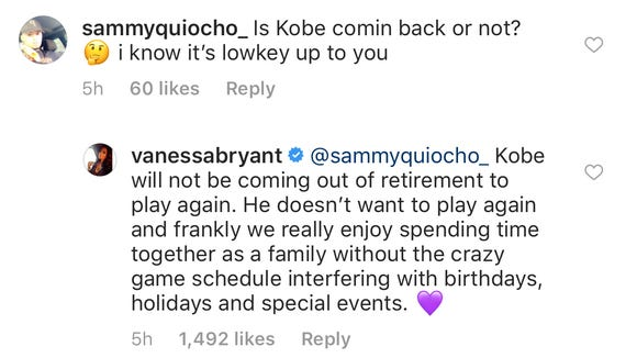 Vanessa Bryant tells fans Kobe does not want to play again, they're enjoying family life