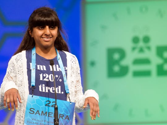 Sameera Hussain, 12, of Porterville, Calif., spells her word during the preliminary round two of the Scripps National Spelling Bee in National Harbor, Md., Wednesday, May 25, 2016.