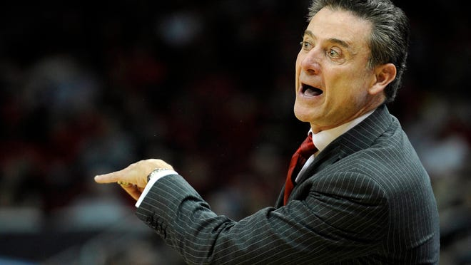 U of L head coach Rick Pitino reacts during the second half of a Feb. 1 game against the UCF Knights at KFC Yum! Center.