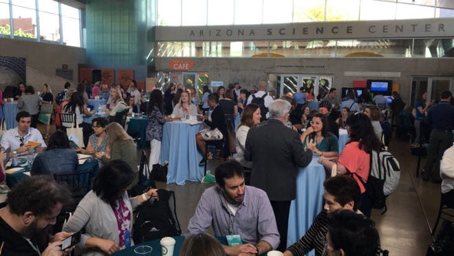 Educators met at Arizona Science Center for the 100Kin10 Summit to discuss challenges for STEM educators on Tuesday, April 10, 2018.