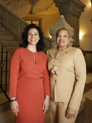 Dena Cranley, wife of Cincinnati Major John Cranley, and Barbara Lynch, first lady of New Jerusalem Baptist Church, lead the First Ladies for Health initiative.