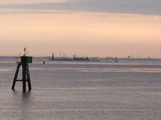 Injured man was evacuated from this dredge off Delaware City.