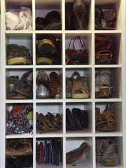 Shoes are organized in Jill's closet.