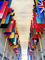 At the Kennedy Center, many beautiful flags representing the peoples of the world.