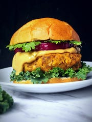 An Asian Sweet Potato Burger created by Kristie Holdren